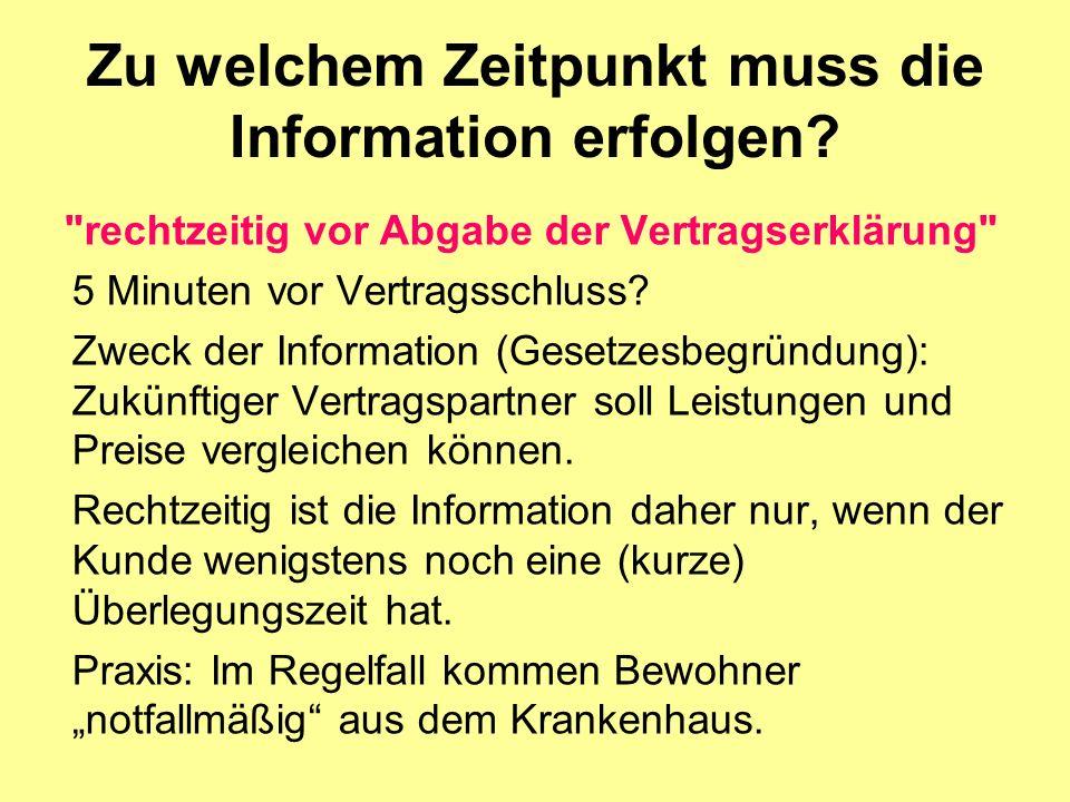 Zu welchem Zeitpunkt muss die Information erfolgen.