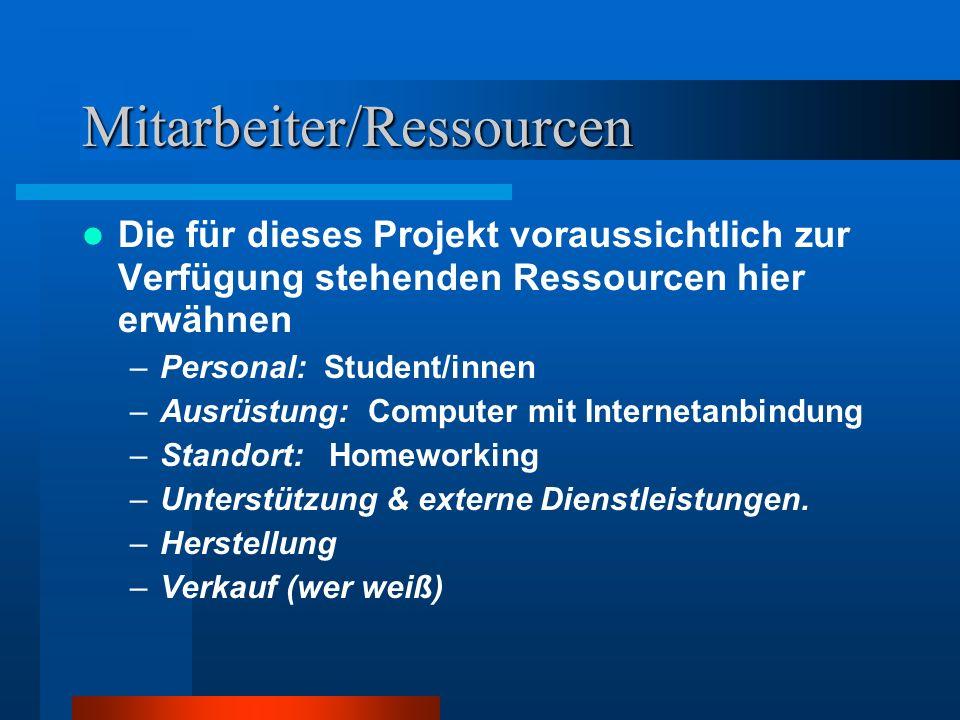 Mitarbeiter/Ressourcen Die für dieses Projekt voraussichtlich zur Verfügung stehenden Ressourcen hier erwähnen –Personal: Student/innen –Ausrüstung: C