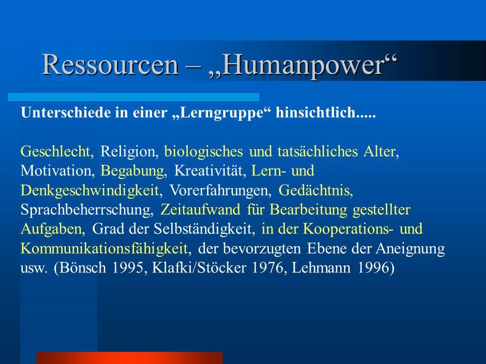 Ressourcen – Humanpower Unterschiede in einer Lerngruppe hinsichtlich..... Geschlecht, Religion, biologisches und tatsächliches Alter, Motivation, Beg