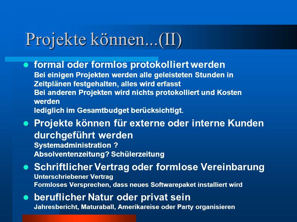 Projekte können...(II) formal oder formlos protokolliert werden Bei einigen Projekten werden alle geleisteten Stunden in Zeitplänen festgehalten, alles wird erfasst Bei anderen Projekten wird nichts protokolliert und Kosten werden lediglich im Gesamtbudget berücksichtigt.