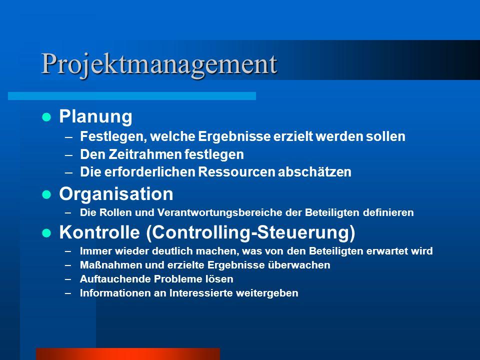 Projektmanagement Planung –Festlegen, welche Ergebnisse erzielt werden sollen –Den Zeitrahmen festlegen –Die erforderlichen Ressourcen abschätzen Orga