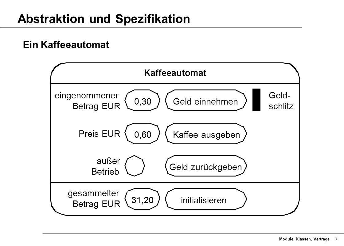 Module, Klassen, Verträge 3 Abstraktion und Spezifikation Formales Zustands-Verhaltens-Modell Aktionen:eGeld_einnehmen rGeld_zurückgeben aKaffee_ausgeben Zustände:nneutral ggeladen mit Geld Reaktionen:GGeldrückgabe KKaffeeausgabe 0keine Reaktion (e, 0) (r, G) (e, G) (a, 0) (r, 0) (a, K) g g n n