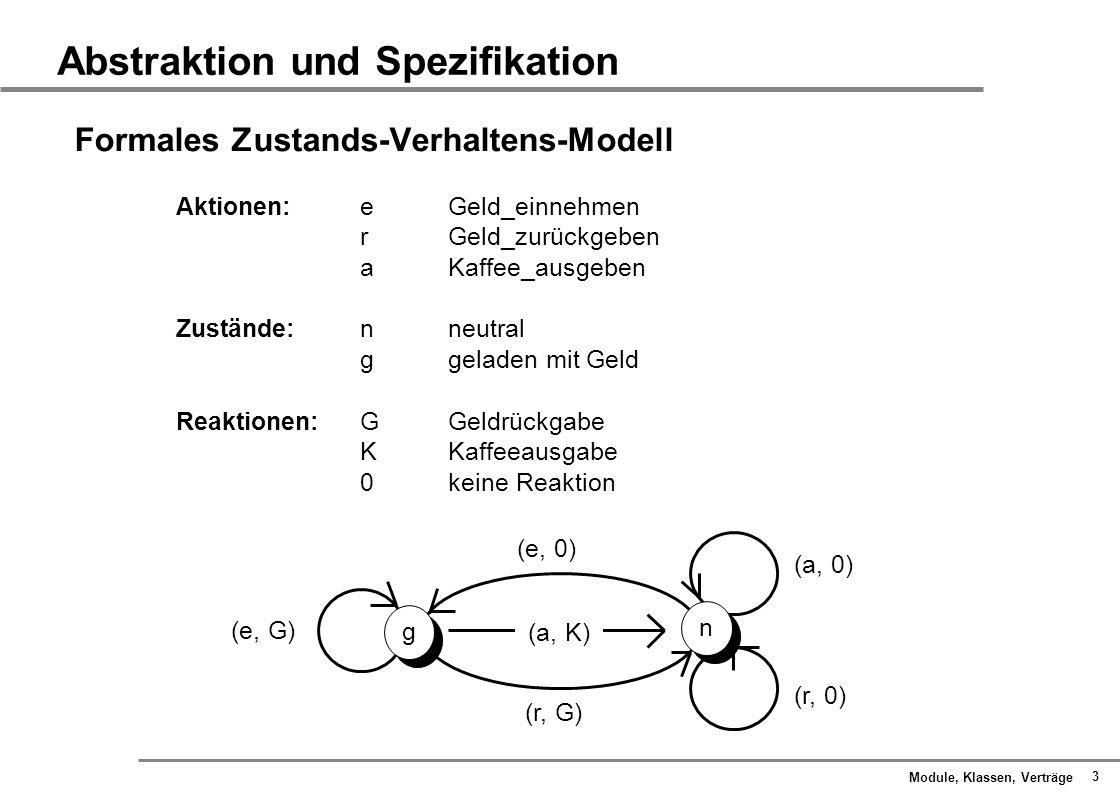 Module, Klassen, Verträge 14 Spezifikation durch Vertrag Invarianten Nicht alle Zustände eines Moduls, die syntaktisch erlaubt sind, sind semantisch sinnvoll.