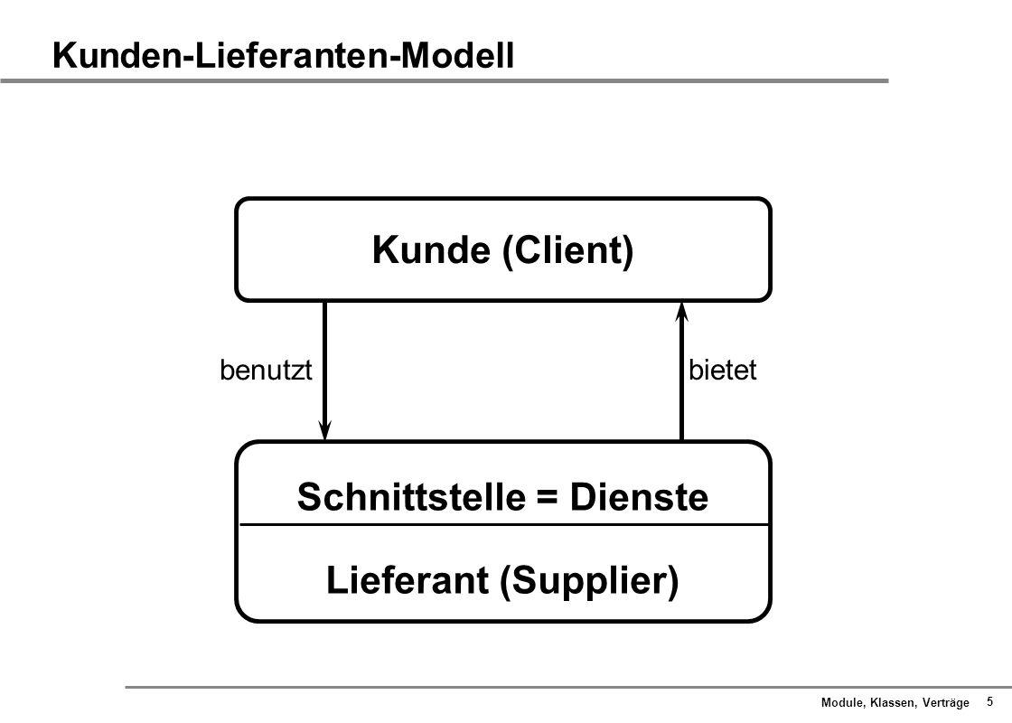 Module, Klassen, Verträge 6 Kunden-Lieferanten-Modell Aufrufender Dienste sind - Abfragen - Aktionen Aufgerufener AufrufAntwort