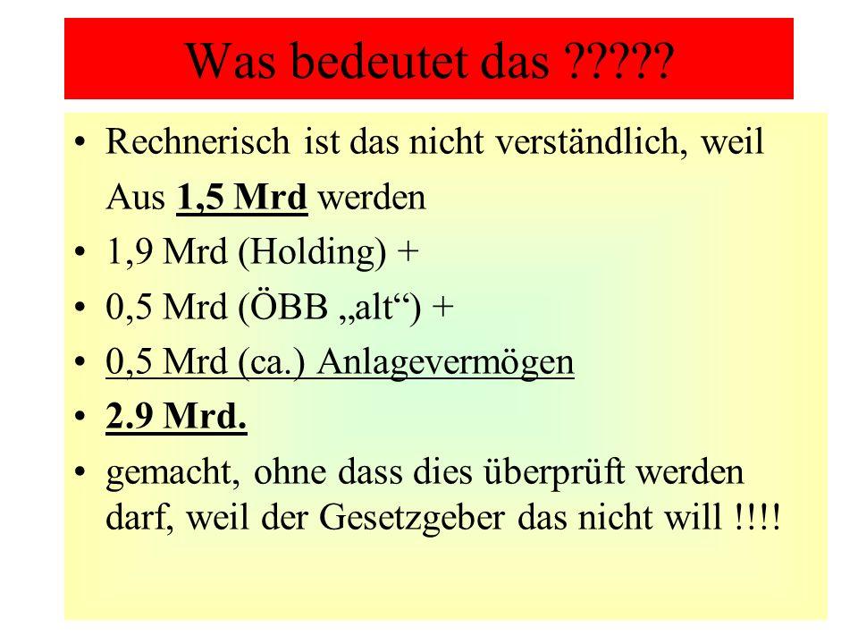 Was bedeutet das ????? Rechnerisch ist das nicht verständlich, weil Aus 1,5 Mrd werden 1,9 Mrd (Holding) + 0,5 Mrd (ÖBB alt) + 0,5 Mrd (ca.) Anlagever