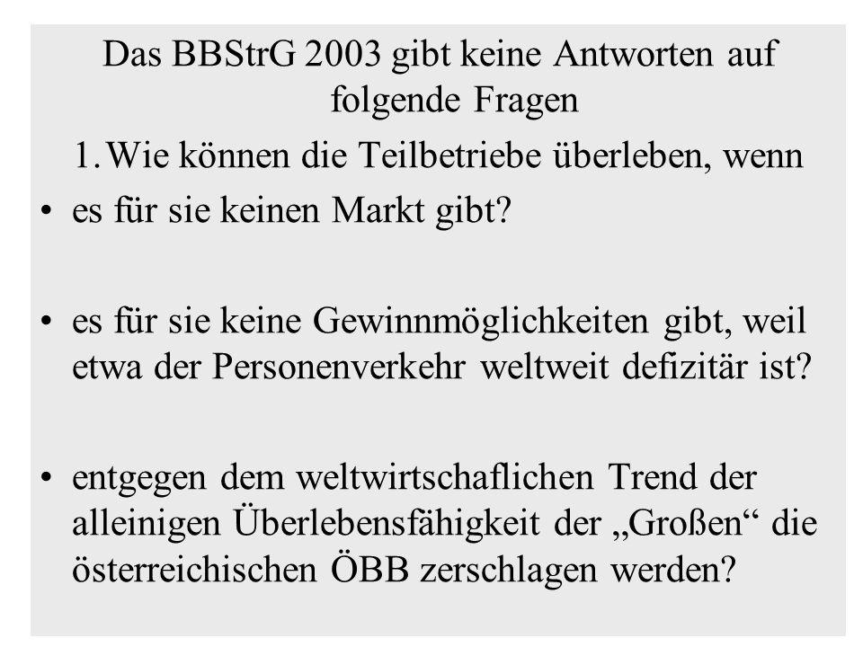 Das BBStrG 2003 gibt keine Antworten auf folgende Fragen 1.Wie können die Teilbetriebe überleben, wenn es für sie keinen Markt gibt? es für sie keine
