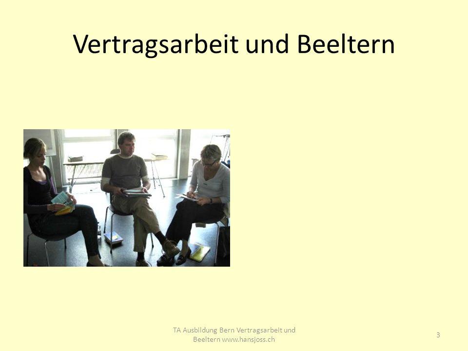 Vertragsarbeit und Beeltern 3 TA Ausbildung Bern Vertragsarbeit und Beeltern www.hansjoss.ch