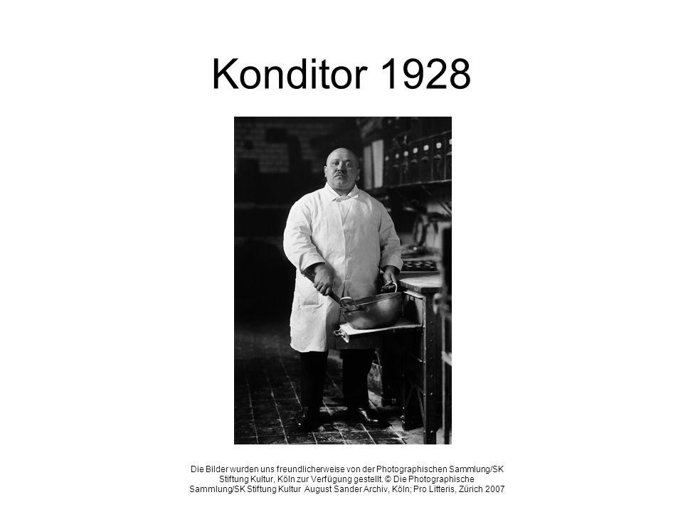 Konditor 1928 Die Bilder wurden uns freundlicherweise von der Photographischen Sammlung/SK Stiftung Kultur, Köln zur Verfügung gestellt. © Die Photogr