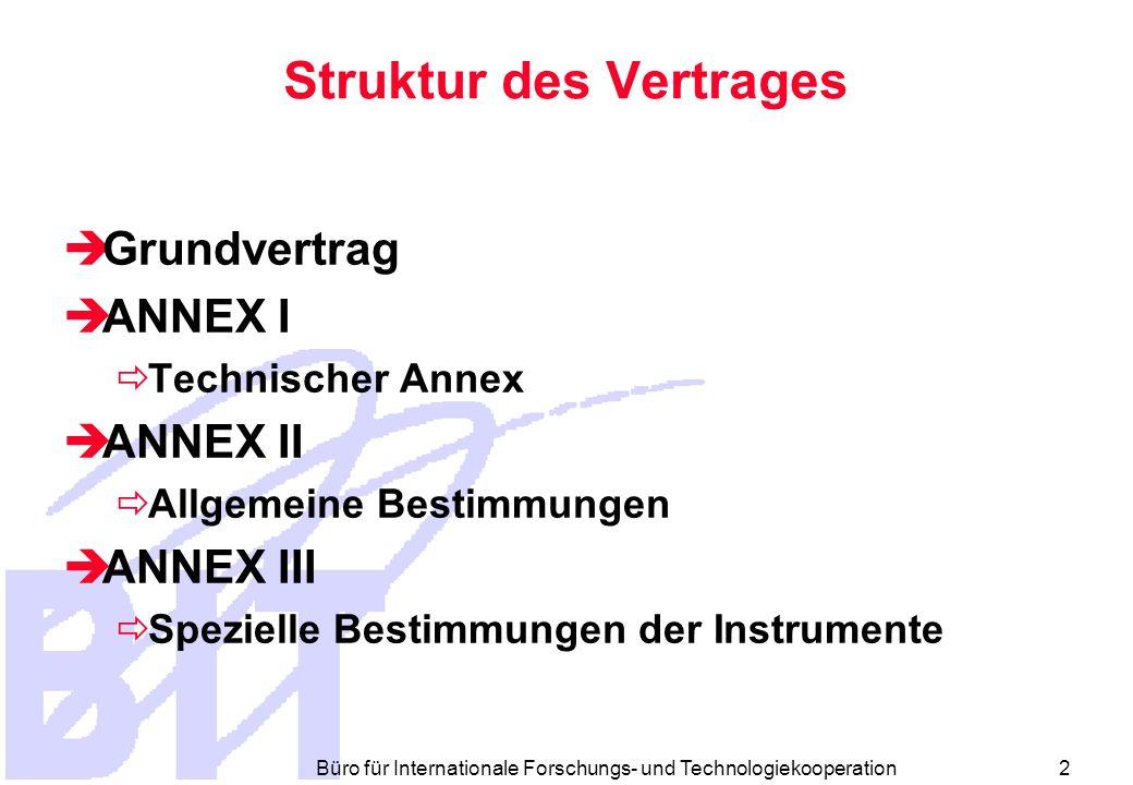 Büro für Internationale Forschungs- und Technologiekooperation 2 Struktur des Vertrages Grundvertrag ANNEX I Technischer Annex ANNEX II Allgemeine Bestimmungen ANNEX III Spezielle Bestimmungen der Instrumente