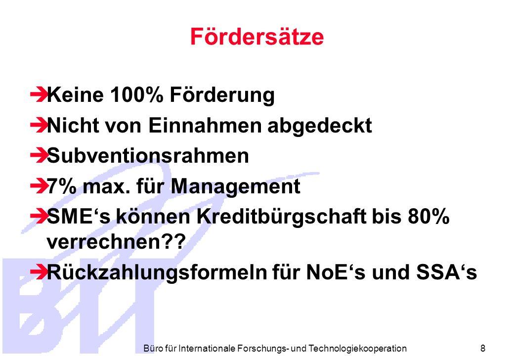 Büro für Internationale Forschungs- und Technologiekooperation 8 Fördersätze Keine 100% Förderung Nicht von Einnahmen abgedeckt Subventionsrahmen 7% max.