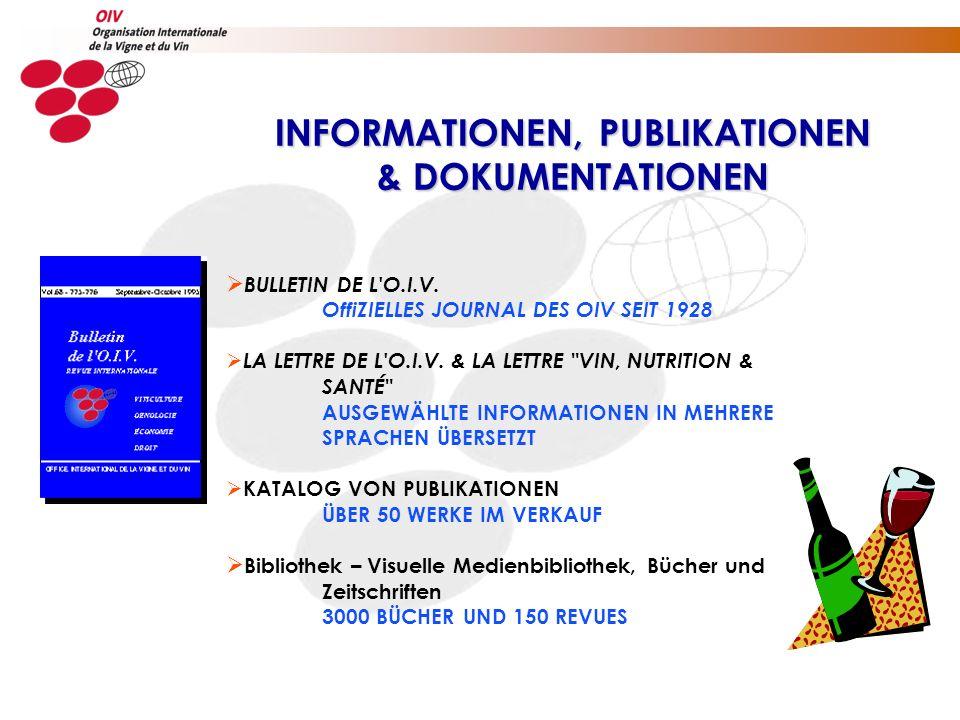 BULLETIN DE L'O.I.V. OffiZIELLES JOURNAL DES OIV SEIT 1928 LA LETTRE DE L'O.I.V. & LA LETTRE
