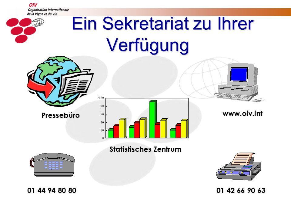 Ein Sekretariat zu Ihrer Verfügung 01 44 94 80 80 01 42 66 90 63 www.oiv.int Pressebüro Statistisches Zentrum
