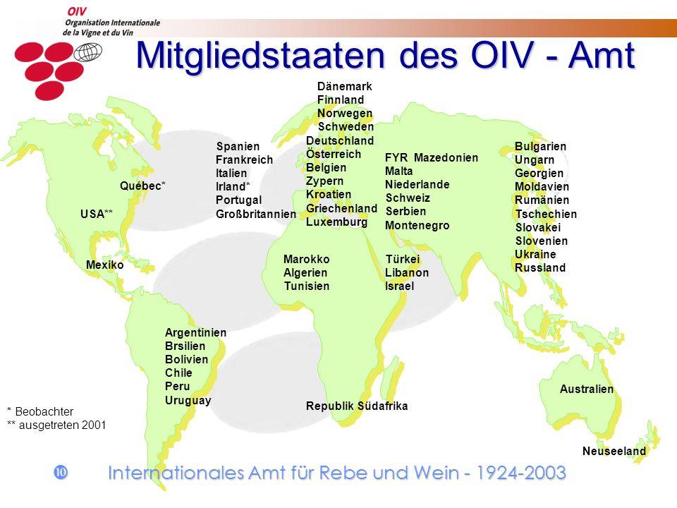 Mitgliedstaaten des OIV - Amt Mitgliedstaaten des OIV - Amt Republik Südafrika Australien Argentinien Brsilien Bolivien Chile Peru Uruguay Marokko Alg