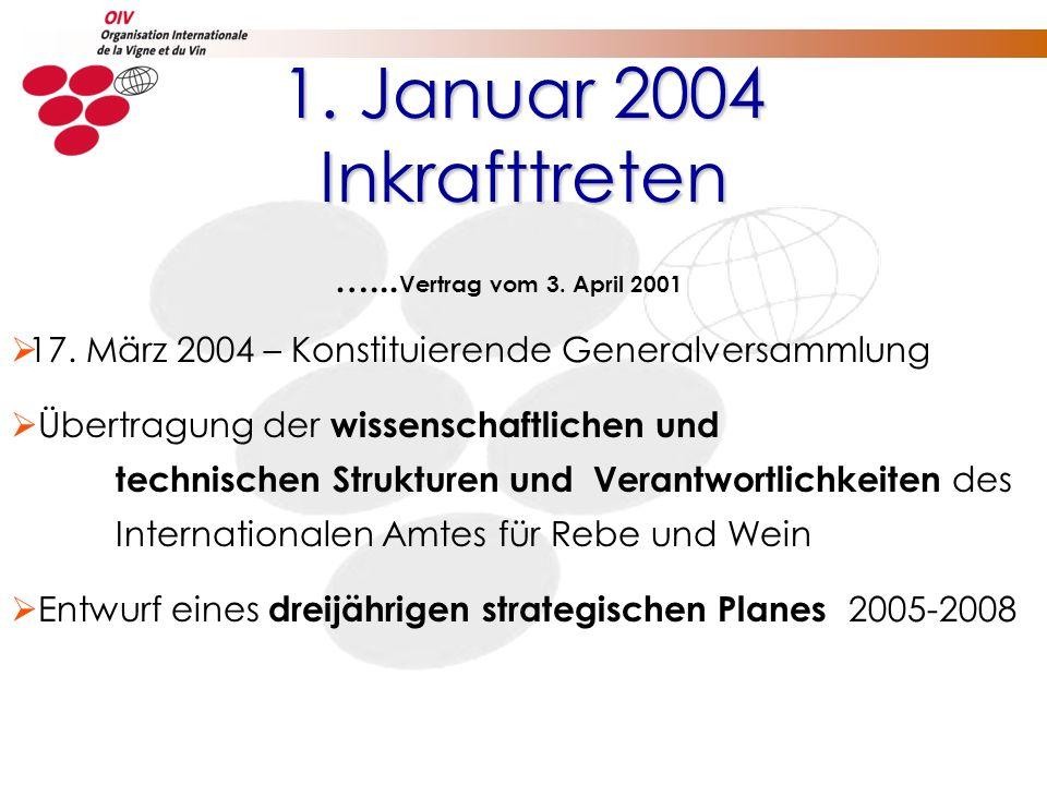 1. Januar 2004 Inkrafttreten …... Vertrag vom 3. April 2001 17. März 2004 – Konstituierende Generalversammlung Übertragung der wissenschaftlichen und