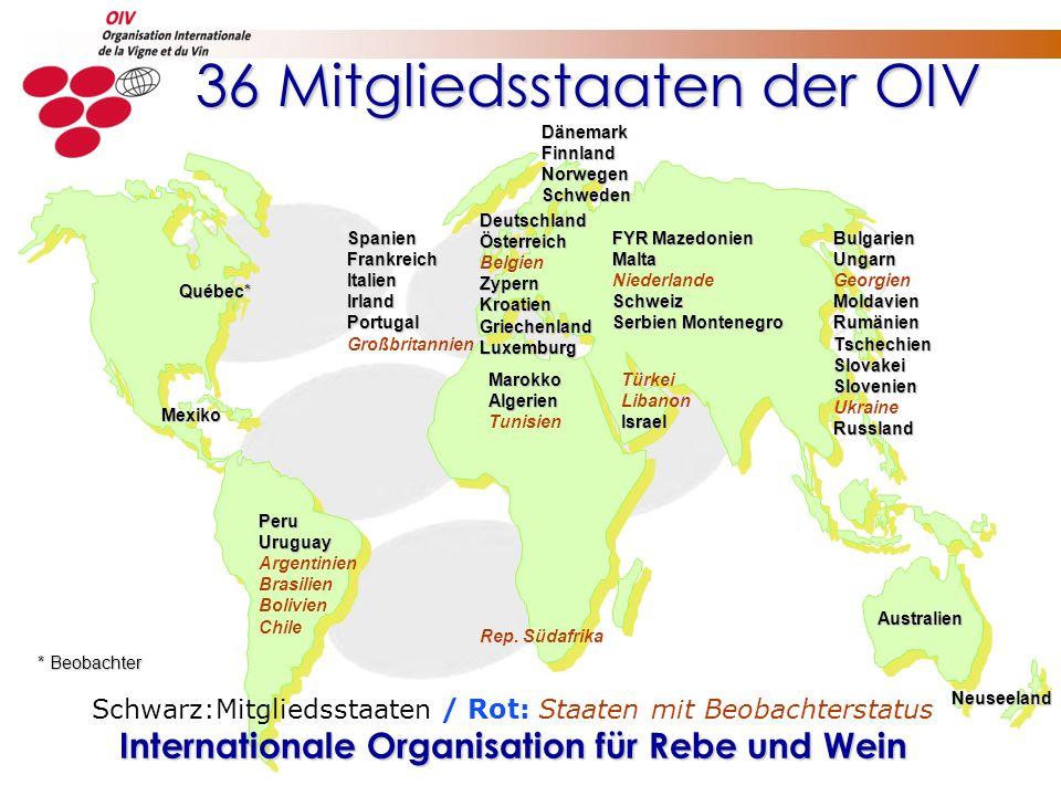 36 Mitgliedsstaaten der OIV 36 Mitgliedsstaaten der OIV Rep. Südafrika Neuseeland PeruUruguay Argentinien Brasilien Bolivien Chile MarokkoAlgerien Tun