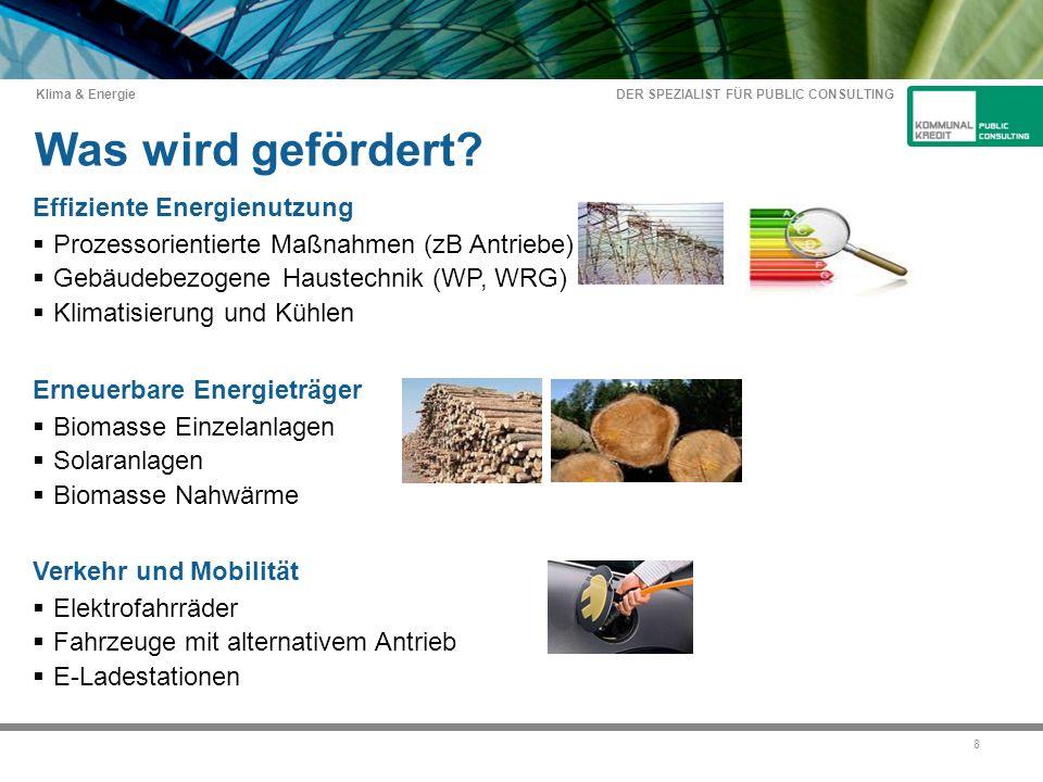 DER SPEZIALIST FÜR PUBLIC CONSULTING Klima & Energie 8 Was wird gefördert.