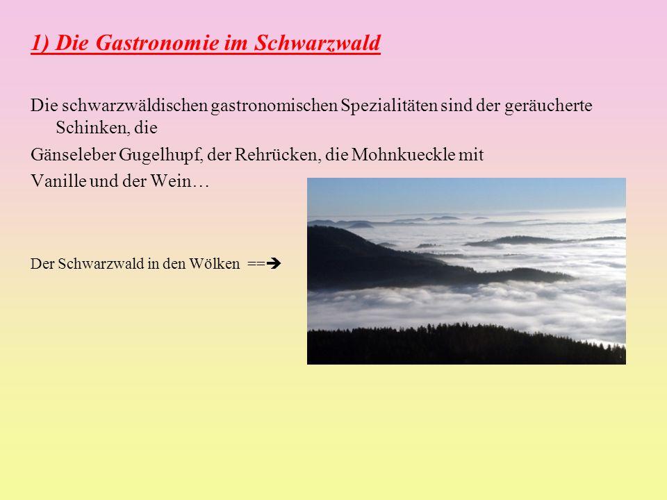 1) Die Gastronomie im Schwarzwald Die schwarzwäldischen gastronomischen Spezialitäten sind der geräucherte Schinken, die Gänseleber Gugelhupf, der Rehrücken, die Mohnkueckle mit Vanille und der Wein… Der Schwarzwald in den Wölken ==