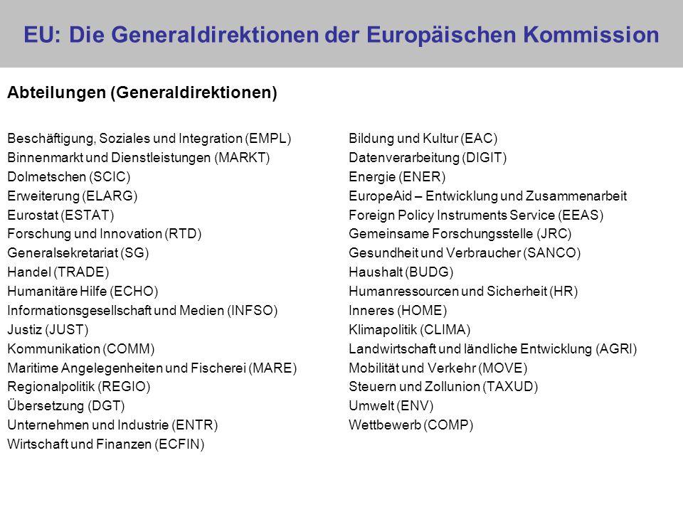 EU: Die Generaldirektionen der Europäischen Kommission Abteilungen (Generaldirektionen) Beschäftigung, Soziales und Integration (EMPL) Bildung und Kul