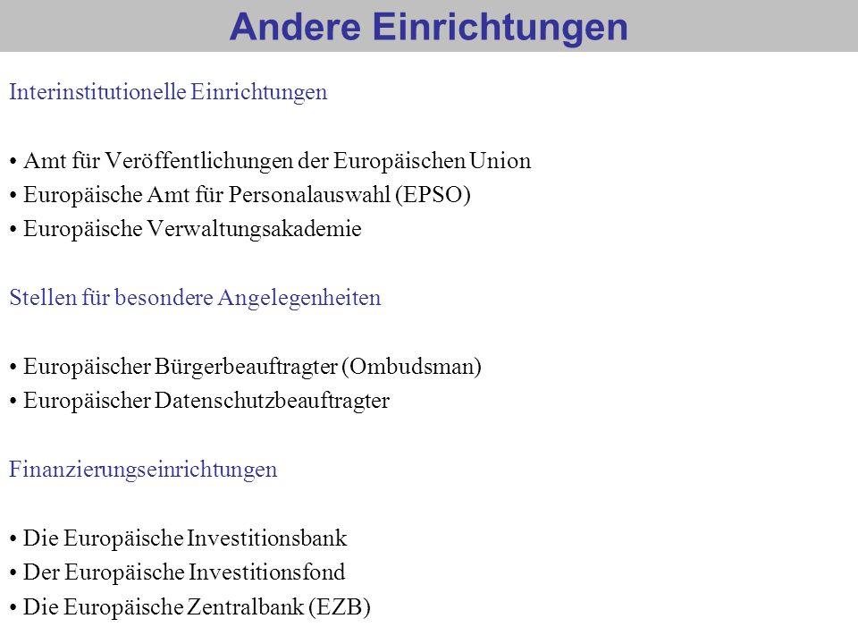 Andere Einrichtungen Interinstitutionelle Einrichtungen Amt für Veröffentlichungen der Europäischen Union Europäische Amt für Personalauswahl (EPSO) E