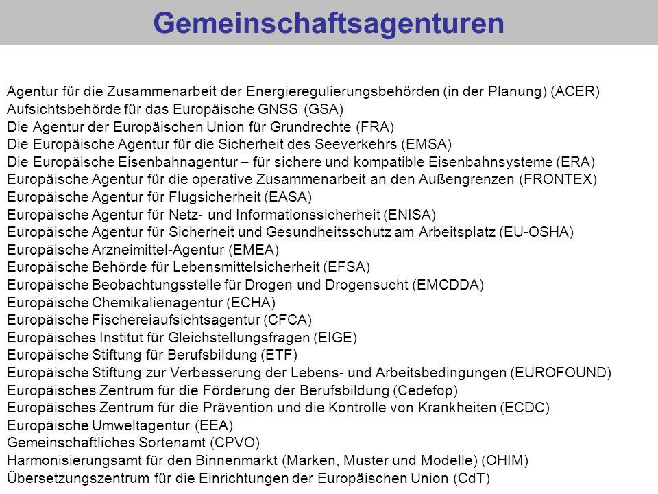 Gemeinschaftsagenturen Agentur für die Zusammenarbeit der Energieregulierungsbehörden (in der Planung) (ACER) Aufsichtsbehörde für das Europäische GNS
