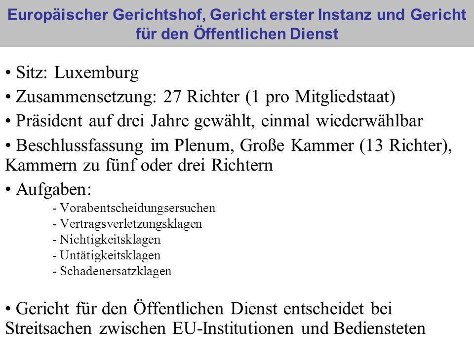 Europäischer Gerichtshof, Gericht erster Instanz und Gericht für den Öffentlichen Dienst Sitz: Luxemburg Zusammensetzung: 27 Richter (1 pro Mitgliedst
