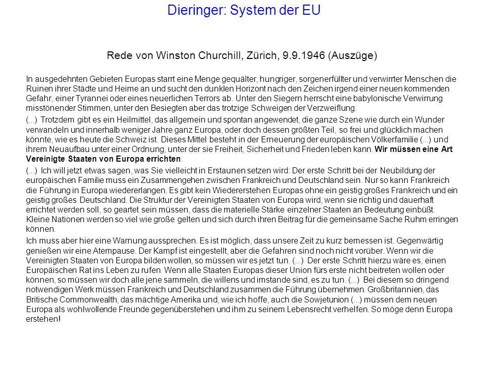 Dieringer: System der EU Rede von Winston Churchill, Zürich, 9.9.1946 (Auszüge) In ausgedehnten Gebieten Europas starrt eine Menge gequälter, hungrige