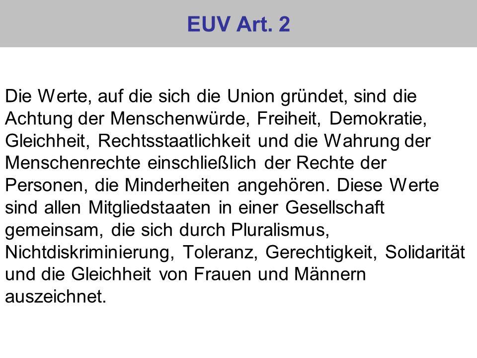 EUV Art. 2 Die Werte, auf die sich die Union gründet, sind die Achtung der Menschenwürde, Freiheit, Demokratie, Gleichheit, Rechtsstaatlichkeit und di