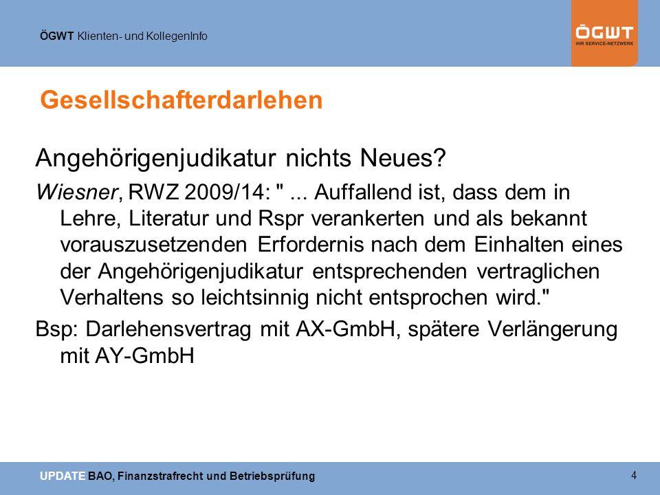ÖGWT Klienten- und KollegenInfo UPDATE BAO, Finanzstrafrecht und Betriebsprüfung GmbH und Immobilie VwGH 19.4.2007, 2005/15/0020 Erwirbt Körperschaft nicht wirtschaftliche Eigentum an einem Wirtschaftsgut, sondern mietet sie ein solches lediglich an, und ist dieser Vorgang von vornherein rein gesellschaftsrechtlich veranlasst, führen die damit zusammenhängenden Aufwendungen nicht zu Betriebsausgaben.