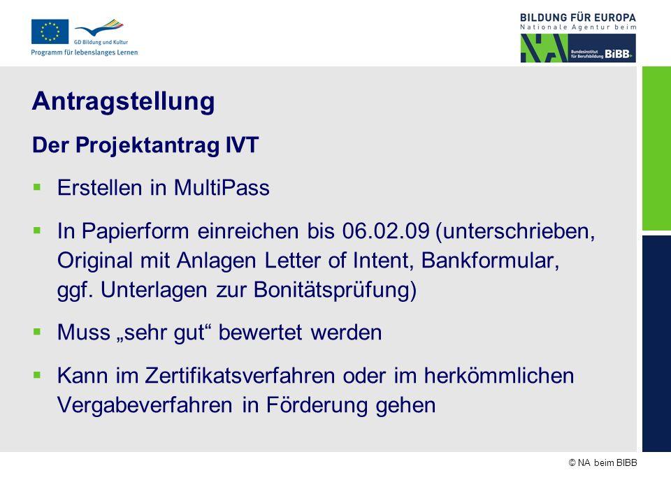 © NA beim BIBB Antragstellung Der Projektantrag IVT Erstellen in MultiPass In Papierform einreichen bis 06.02.09 (unterschrieben, Original mit Anlagen