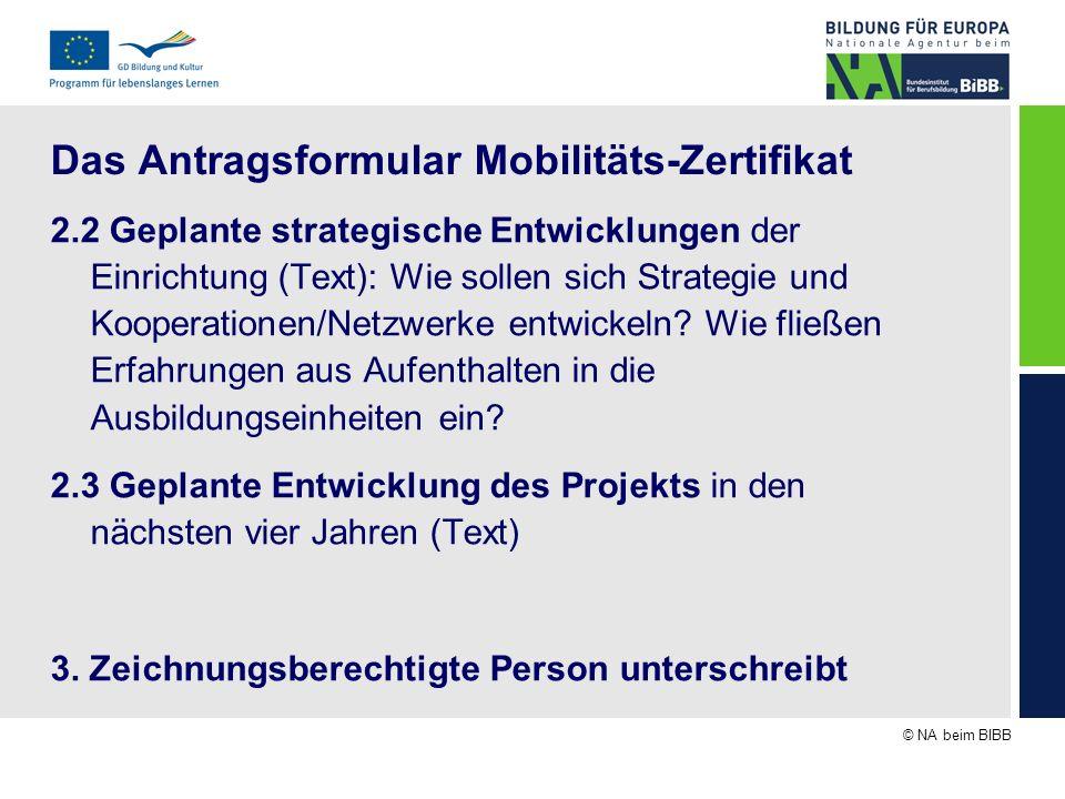 © NA beim BIBB Das Antragsformular Mobilitäts-Zertifikat 2.2 Geplante strategische Entwicklungen der Einrichtung (Text): Wie sollen sich Strategie und