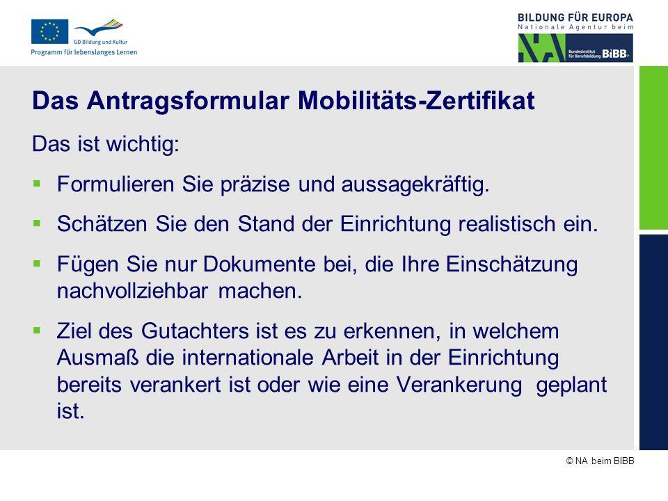 © NA beim BIBB Das Antragsformular Mobilitäts-Zertifikat Das ist wichtig: Formulieren Sie präzise und aussagekräftig. Schätzen Sie den Stand der Einri