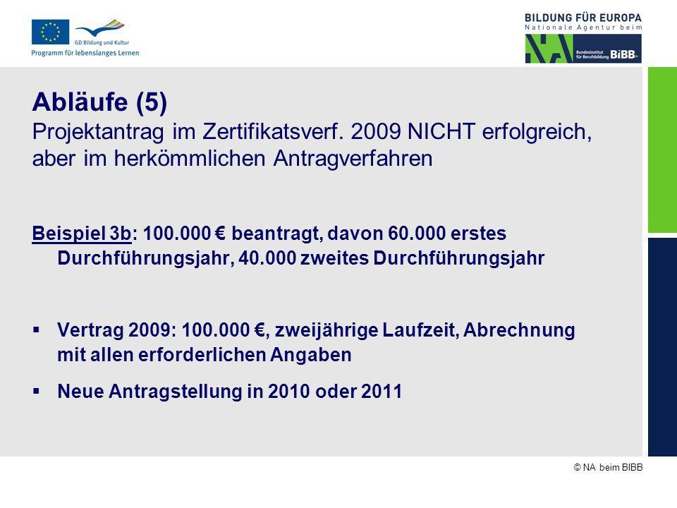 © NA beim BIBB Abläufe (5) Projektantrag im Zertifikatsverf. 2009 NICHT erfolgreich, aber im herkömmlichen Antragverfahren Beispiel 3b: 100.000 beantr
