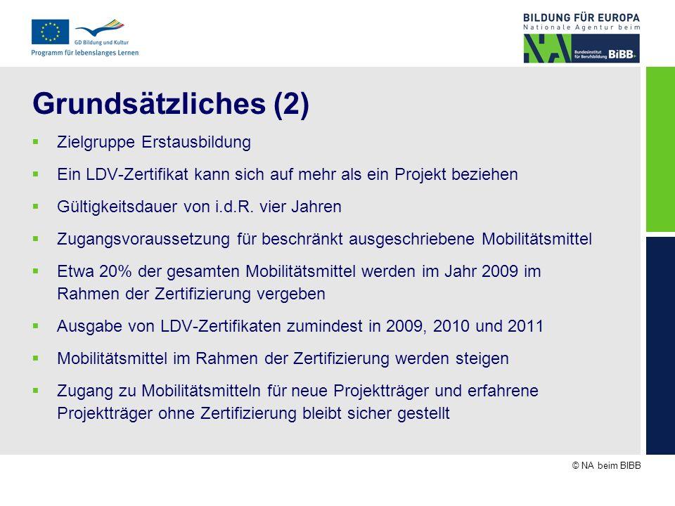 © NA beim BIBB Grundsätzliches (3) Zugangsvoraussetzung zum LDV-Zertifikat ist Nachweis guter Praxis: Mindestens ein bis zum 31.10.2008 erfolgreich abgeschlossenes IVT Mobilitätsprojekt aus den Antragsjahren 2006, 2007 oder 2008 Projektträger die dieses notwendige Kriterium bisher erfüllten, wurden schriftlich informiert