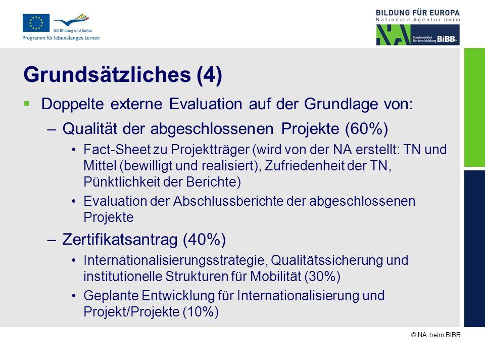 © NA beim BIBB Grundsätzliches (4) Doppelte externe Evaluation auf der Grundlage von: –Qualität der abgeschlossenen Projekte (60%) Fact-Sheet zu Proje