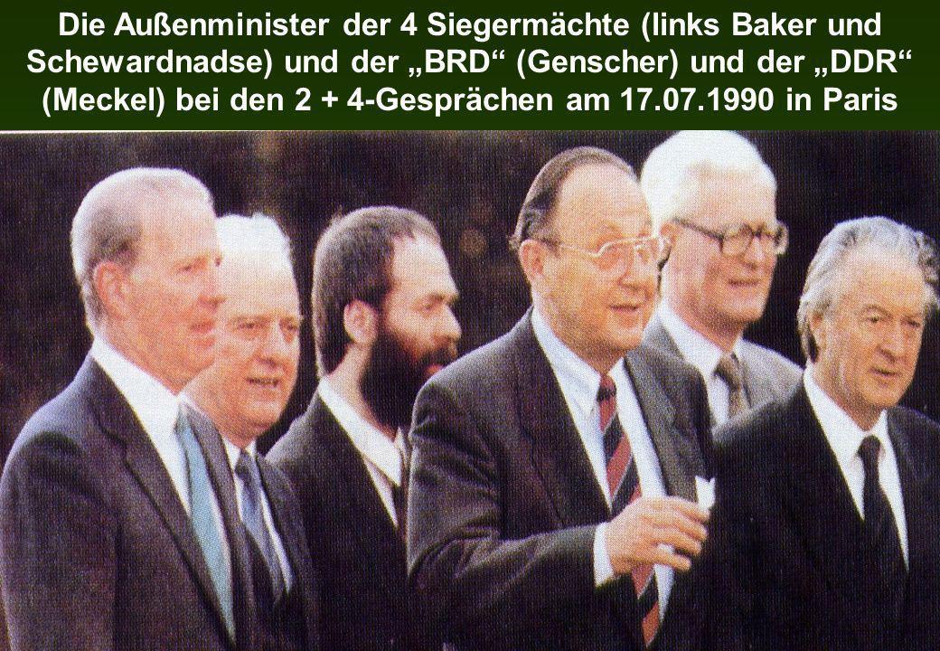 Die Außenminister der 4 Siegermächte (links Baker und Schewardnadse) und der BRD (Genscher) und der DDR (Meckel) bei den 2 + 4-Gesprächen am 17.07.199