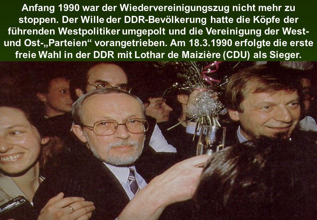 Anfang 1990 war der Wiedervereinigungszug nicht mehr zu stoppen. Der Wille der DDR-Bevölkerung hatte die Köpfe der führenden Westpolitiker umgepolt un