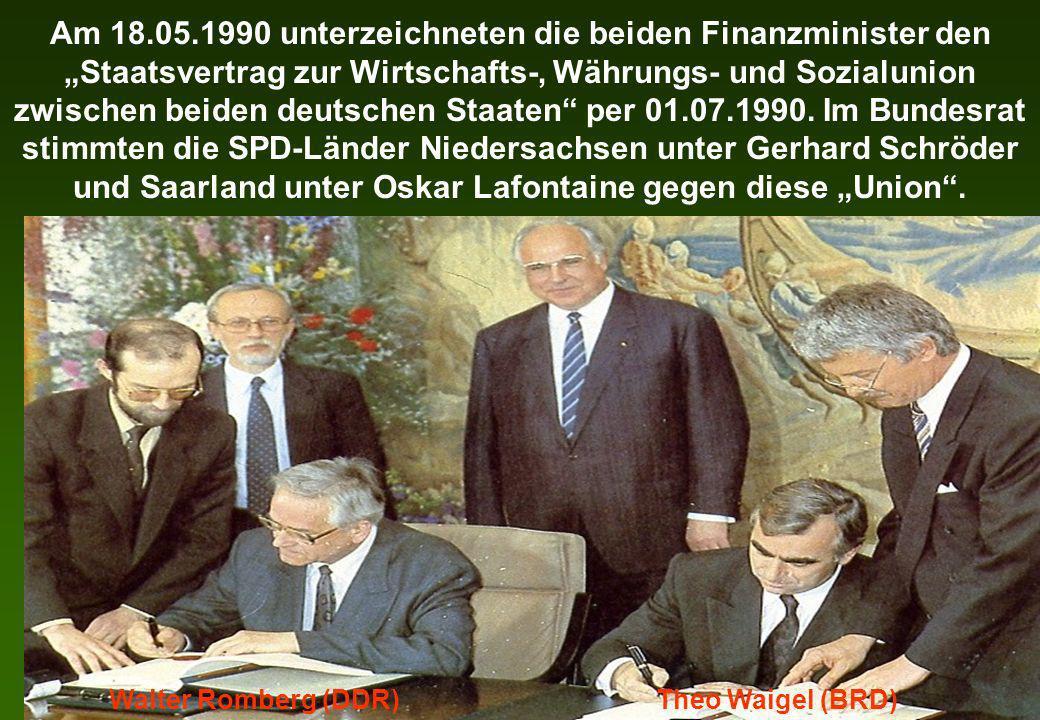Am 18.05.1990 unterzeichneten die beiden Finanzminister den Staatsvertrag zur Wirtschafts-, Währungs- und Sozialunion zwischen beiden deutschen Staate
