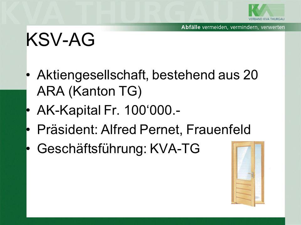 KSV-AG Aktiengesellschaft, bestehend aus 20 ARA (Kanton TG) AK-Kapital Fr. 100000.- Präsident: Alfred Pernet, Frauenfeld Geschäftsführung: KVA-TG