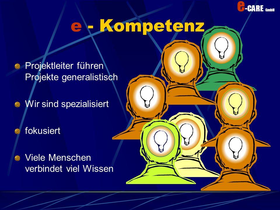 e -CARE GmbH Kompetenz Ein Hirn speichert alle informationen in Bildern ab Der normale Mensch hält nur 10% seines Wissens aktiv Wie kann Fachkompetenz