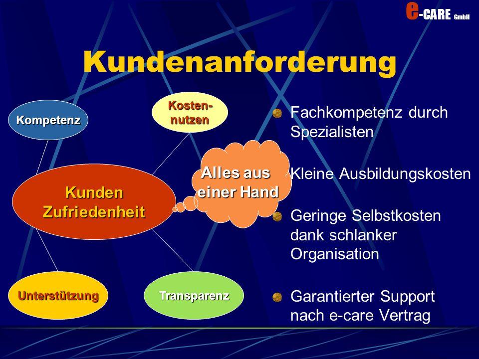 e -CARE GmbH Transparenz Kundenauftrag an e-CARE inkl. Prepayment e-CARE sucht optimale(n) Engineer(e) und Partner Auftrag ausführen Verrechnen der DL