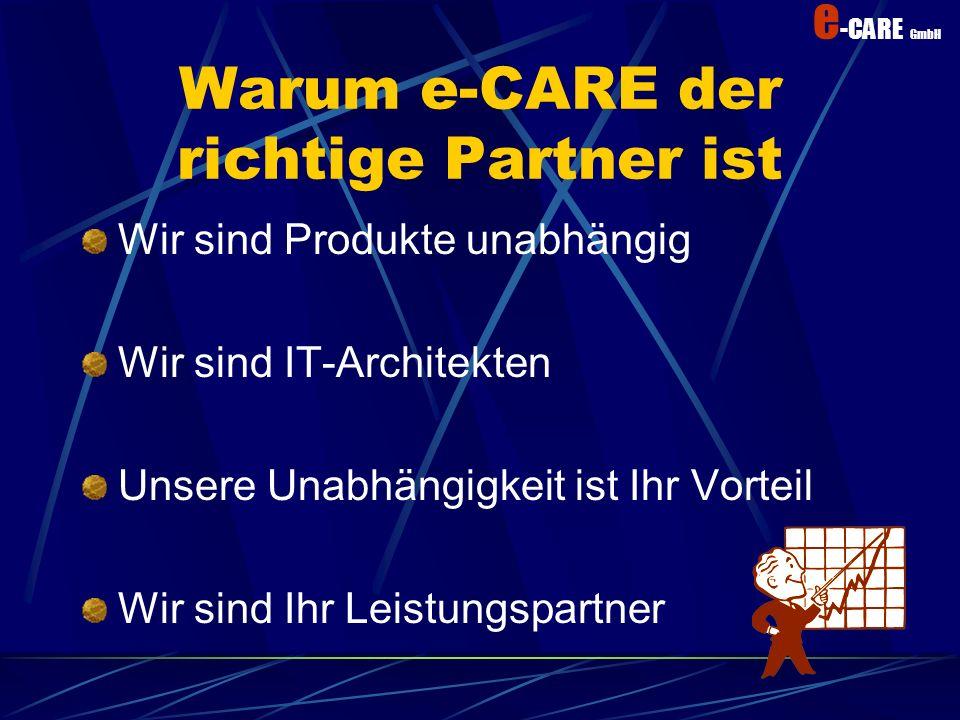 e -CARE GmbH e -CARE ihr e-Enterprise -Partner Umfassende und professionelle Lösungen nach Kundenbedürfnis Kundennutzen Investitionsschutz Sicherheit Zielgerichtet Erfahrener Leistungspartner