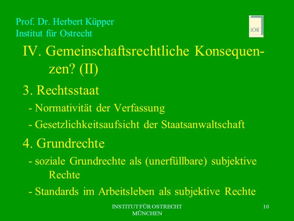 INSTITUT FÜR OSTRECHT MÜNCHEN 10 Prof. Dr. Herbert Küpper Institut für Ostrecht IV. Gemeinschaftsrechtliche Konsequen- zen? (II) 3. Rechtsstaat - Norm