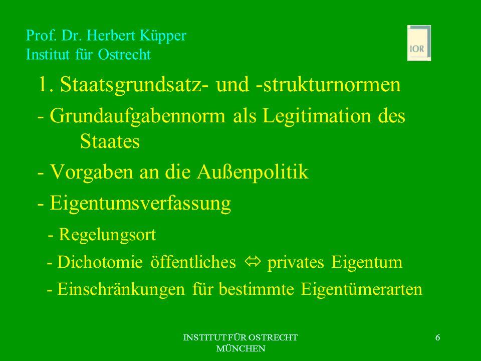 INSTITUT FÜR OSTRECHT MÜNCHEN 6 Prof. Dr. Herbert Küpper Institut für Ostrecht 1. Staatsgrundsatz- und -strukturnormen - Grundaufgabennorm als Legitim