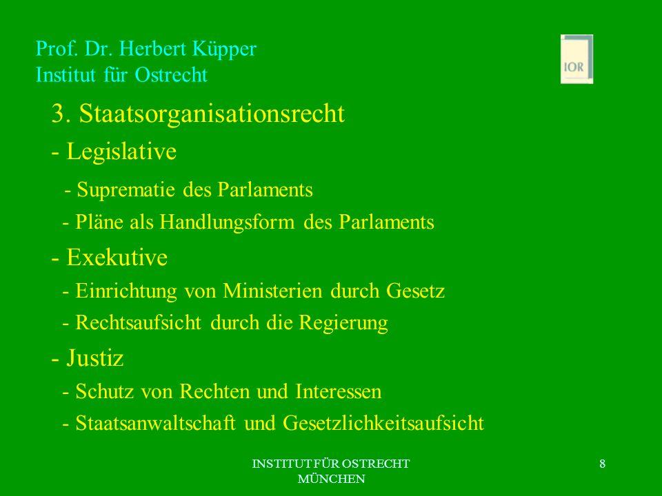 INSTITUT FÜR OSTRECHT MÜNCHEN 8 Prof. Dr. Herbert Küpper Institut für Ostrecht 3. Staatsorganisationsrecht - Legislative - Suprematie des Parlaments -