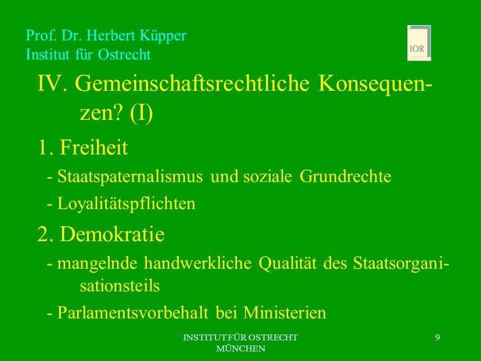 INSTITUT FÜR OSTRECHT MÜNCHEN 9 Prof. Dr. Herbert Küpper Institut für Ostrecht IV. Gemeinschaftsrechtliche Konsequen- zen? (I) 1. Freiheit - Staatspat