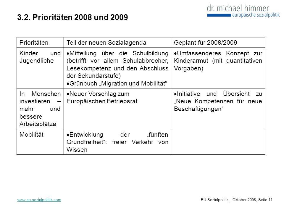 3.2. Prioritäten 2008 und 2009 www.eu-sozialpolitik.com PrioritätenTeil der neuen SozialagendaGeplant für 2008/2009 Kinder und Jugendliche Mitteilung