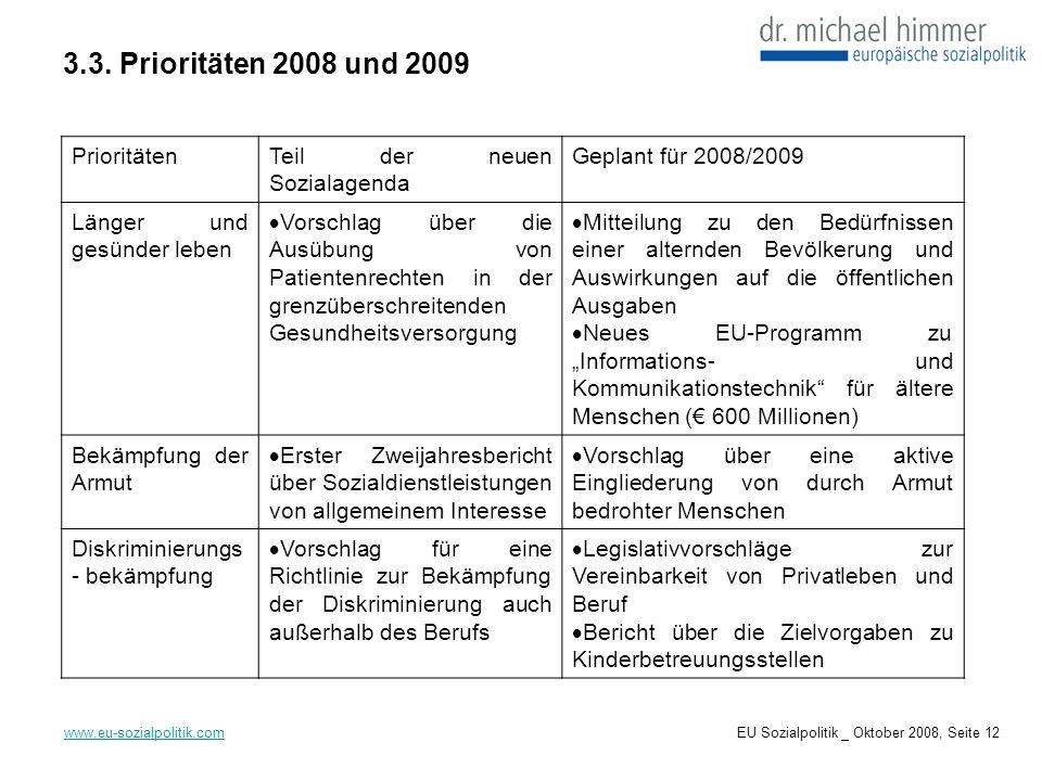 3.3. Prioritäten 2008 und 2009 www.eu-sozialpolitik.com PrioritätenTeil der neuen Sozialagenda Geplant für 2008/2009 Länger und gesünder leben Vorschl
