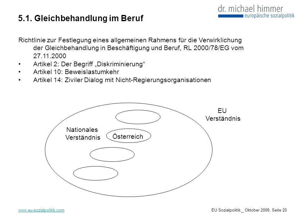 5.1. Gleichbehandlung im Beruf www.eu-sozialpolitik.com Richtlinie zur Festlegung eines allgemeinen Rahmens für die Verwirklichung der Gleichbehandlun
