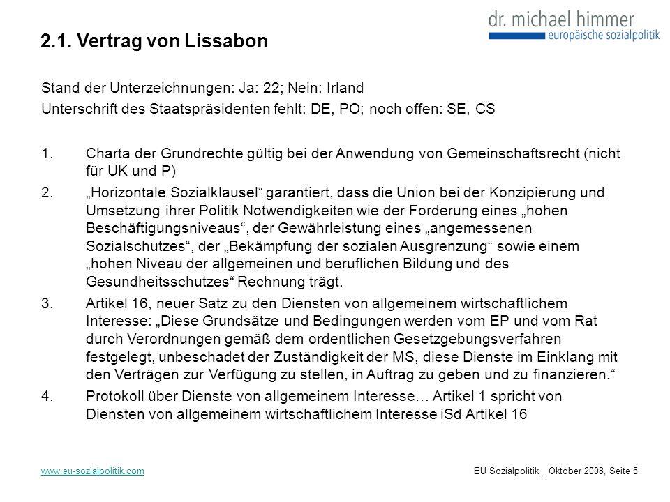 6.1.Richtlinie zu Gesundheitsdiensten www.eu-sozialpolitik.com Am 19.