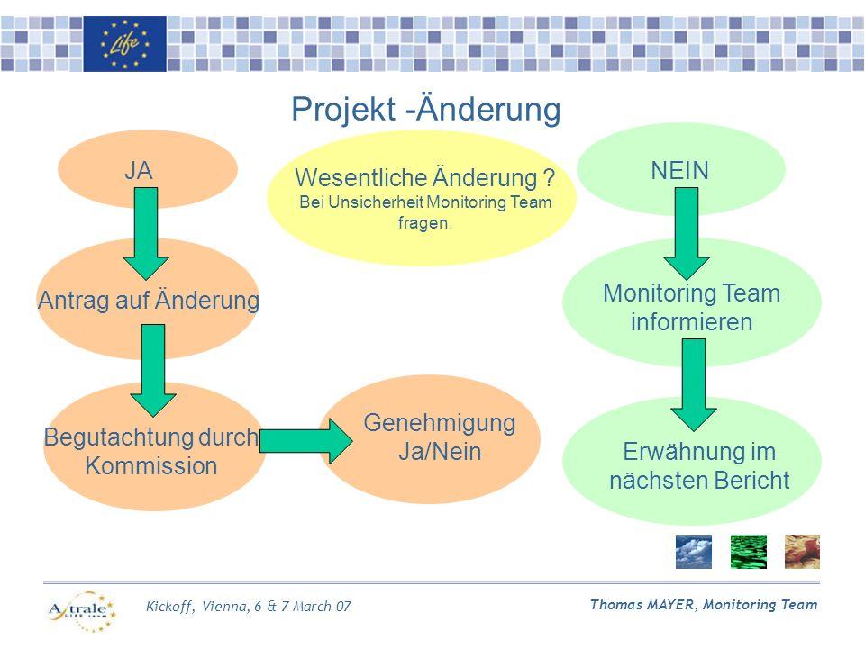 Kickoff, Vienna, 6 & 7 March 07 Thomas MAYER, Monitoring Team Projekt -Änderung Wesentliche Änderung .